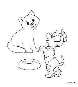 free coloring pages Dog and Cat